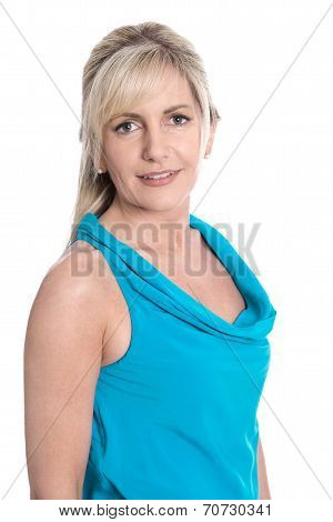 Isolated Portrait Of Middle Aged Blond Satisfied Woman Over White Background.