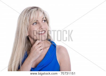 Portrait Of Attractive Mature Woman Looking Sideways Isolated Over White.