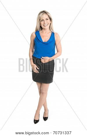 Isolated Business Woman In Full Body Length.
