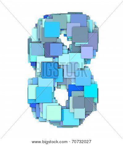 3D Multiple Blue Tiled Number Eight 8 Fragmented On White
