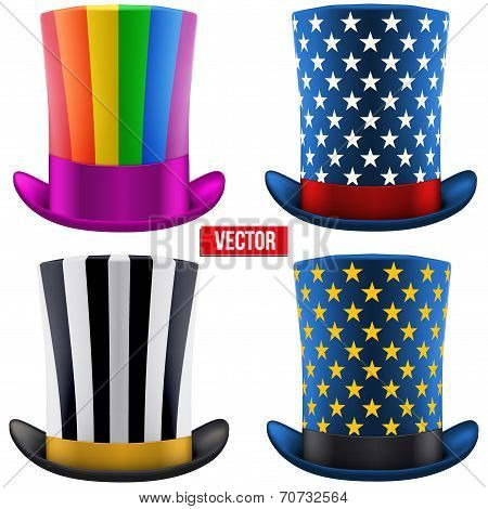 Set of magic hats cylinder. Vector Illustration