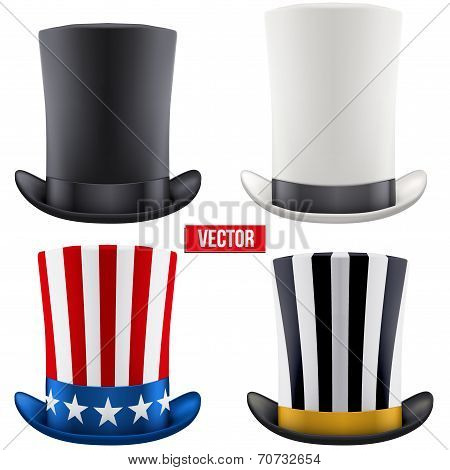 Set of tall gentleman hat cylinder. Vector Illustration.