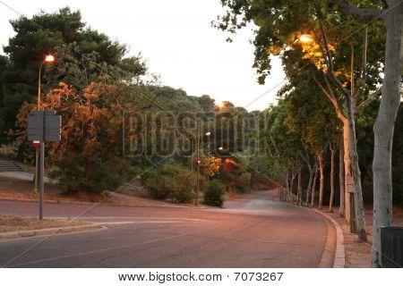 Descending Street In Twilight