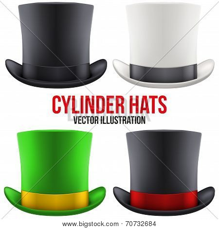 Set of gentleman hat cylinder. Vector Illustration.