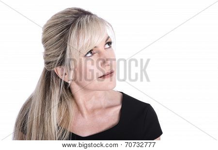 Portrait Of Mature Beautiful Blond Woman Face Looking Up.