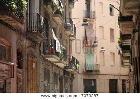 Street And Facades In Barrio Gotico Barcelona