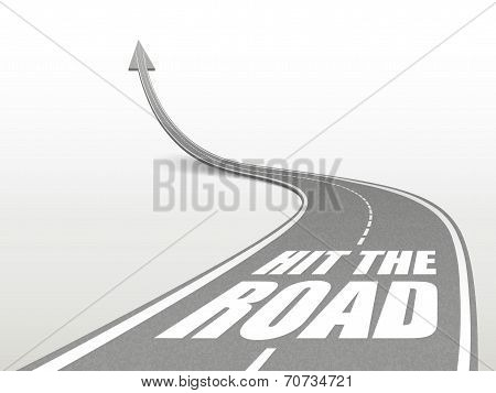 Hit The Road Words On Highway Road