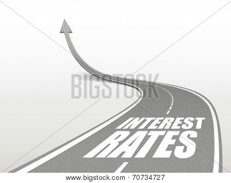 Interest Rates Words On Highway Road