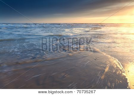North Sea Coast At Sunset