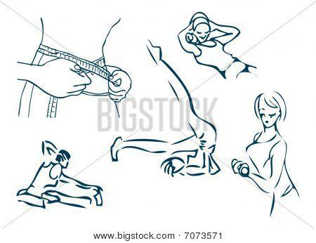 Girls Day Sport Fitness Emblem Design Elements Diet Activity