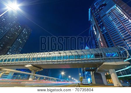 DUBAI, UAE - 3 APRIL 2014: Tunnels of metro station in Dubai Internet City, UAE. Dubai Internet City is created by the government free economic zone for global information technology firms.