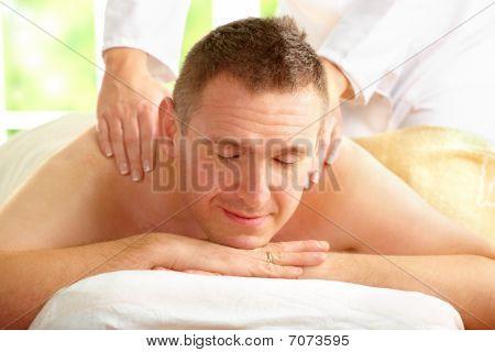 Male Enjoying Massage Treatment