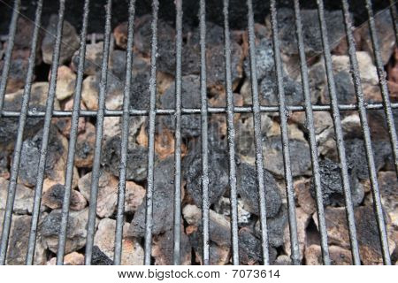 Barbecue Grill And Coal Close-up With Slight Perspective