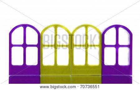 Four Yellow Blue Door Frames