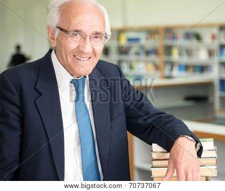 Portrait of happy senior business man