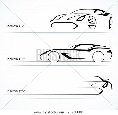 Set of abstract linear car silhouettes.