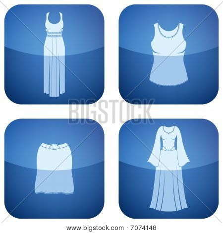 Cobalt Square 2D Icons Set: Woman's Clothing