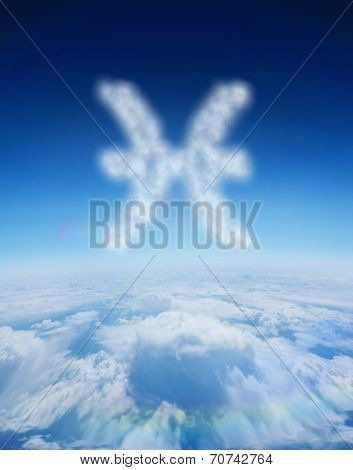 Cloud in shape of pisces star sign against blue sky over clouds at high altitude