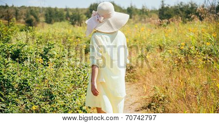 Woman walking on nature