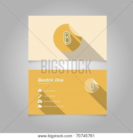 Simple Business Card Template With Alphabet Letter B