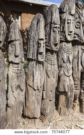 Waga - Carved Wooden Grave Markers. Arfaide (near Karat Konso). Ethiopia.