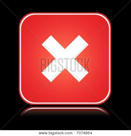 Red square sign cancel action cross