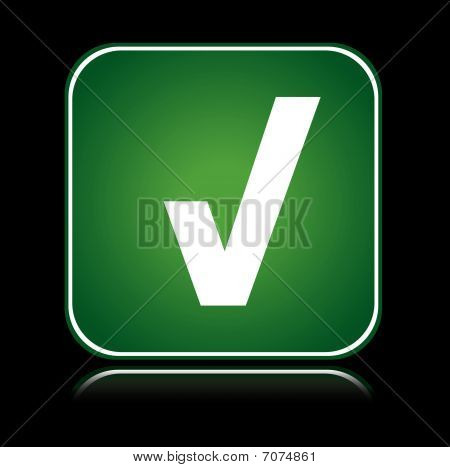 Green square icon approve action tick
