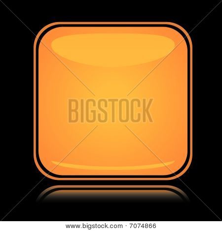 Yellow square icon blank button with reflection