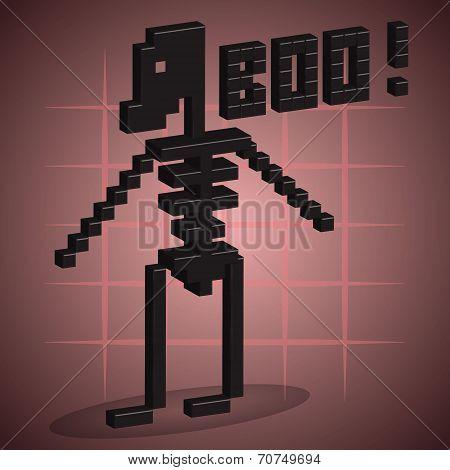 Skeleton. 3D Pixel Art.