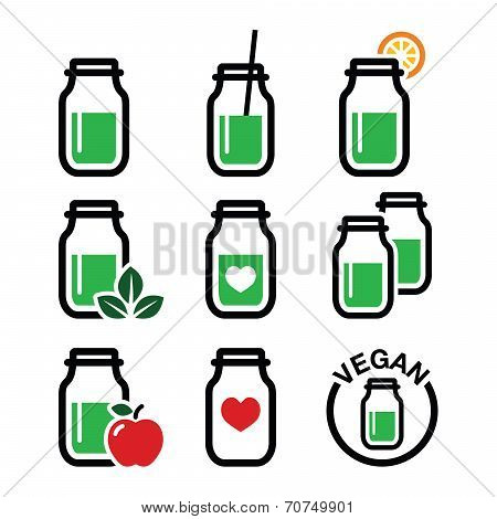Green shake, green smoothie jar icons set