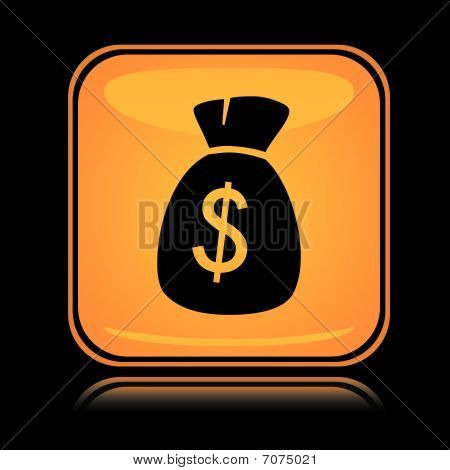 Yellow square icon money sack with reflection