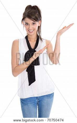 Portrait Of A Isolated Pretty Smiling Girl Presenting With Hands.