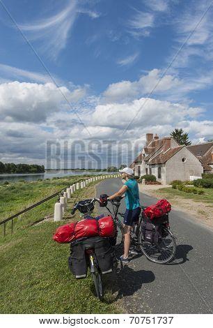 Biker On Dike Loire
