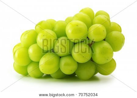 Well grown, green grape isolated on white background.