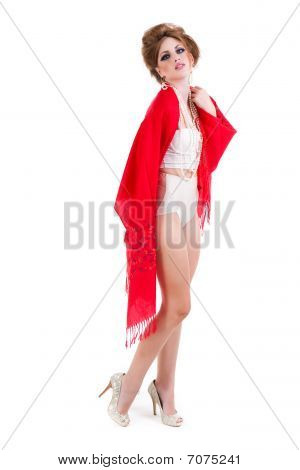 Attractive Young Woman Wearing Underwear And A Red Shawl. Isolated