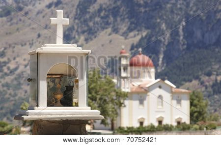 Cretan Funeral Memorial And Church. Lakki. Greece