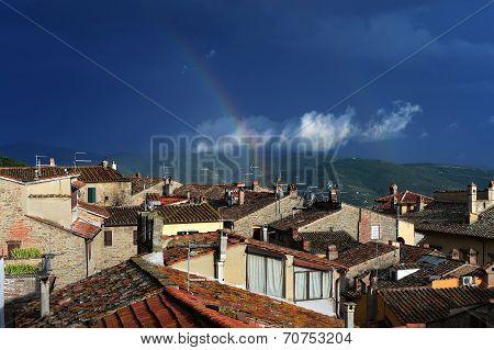 Rainbow, Town, Tuscany