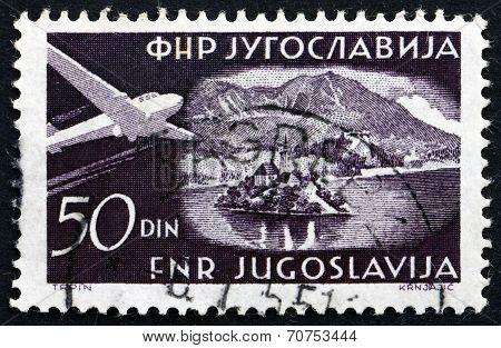 Postage Stamp Yugoslavia 1951 Plane Over Bled