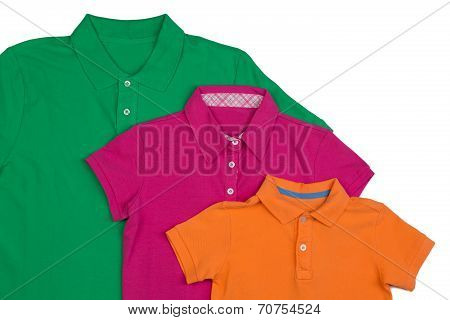 Three Colored Polo Shirt Close-up