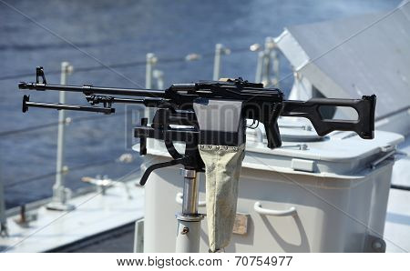 Machine gun on warship