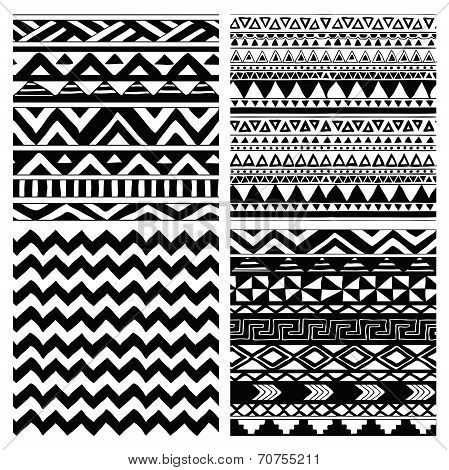 Aztec Tribal Seamless Black and White Pattern Set