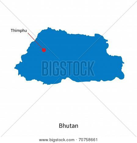 Detailed vector map of Bhutan and capital city Thimphu