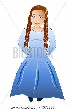 Shy Girl In Blue Robe
