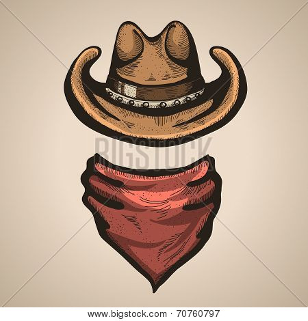 Cowboy Hat And Bandana Scraf.vector Illustration