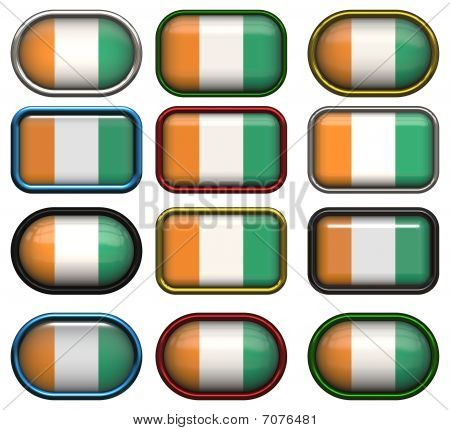 Twelve Buttons Of The Flag Of Cote D'ivoire