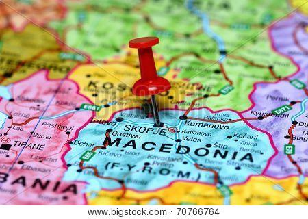 Skopje pinned on a map of europe