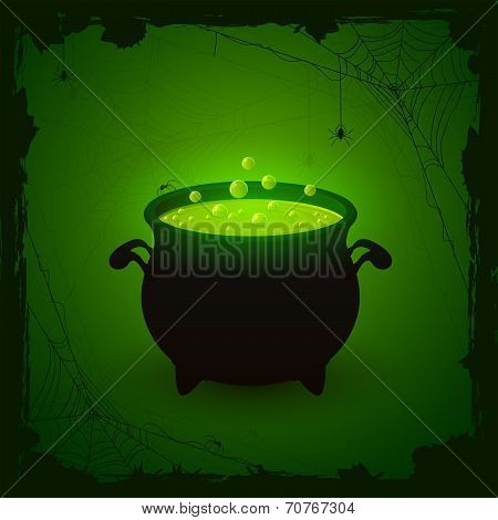 Halloween Green Background With Potion