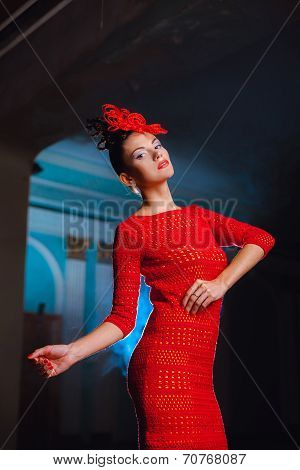 Model In A Red Dress And Pretty Lacy Hat