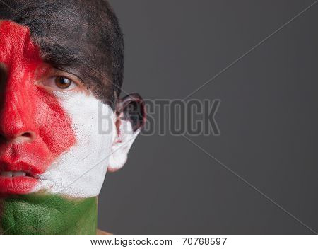 Sad Man And His Face Painted With Palestine Flag