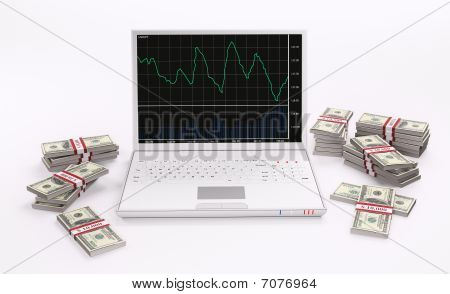 White Laptop And Stacks Of Dollars 3D